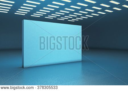 Blue Gallery Interior With Empty Exhibition Stand. Gallery Concept. Mock Up, 3d Rendering