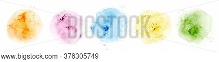 Set Of Hand-painted Watercolor Circles Colorful Different Shapes,  Watercolor Splash Stain Vector El