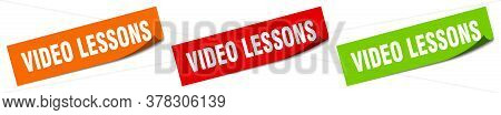 Video Lessons Sticker. Video Lessons Square Isolated Sign. Video Lessons Label