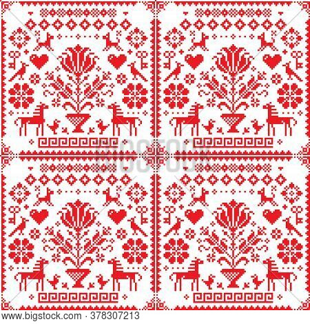 Traditional Cross-stitch Vector Seamless Pattern - Repetitive Background Inspired By German Old Styl
