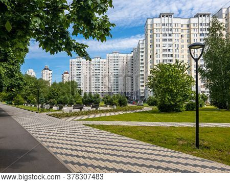 City Landscape With Boulevard In Zelenograd District In Moscow, Russia