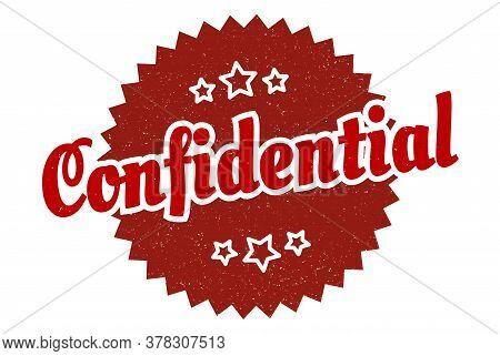 Confidential Sign. Confidential Round Vintage Retro Label. Confidential