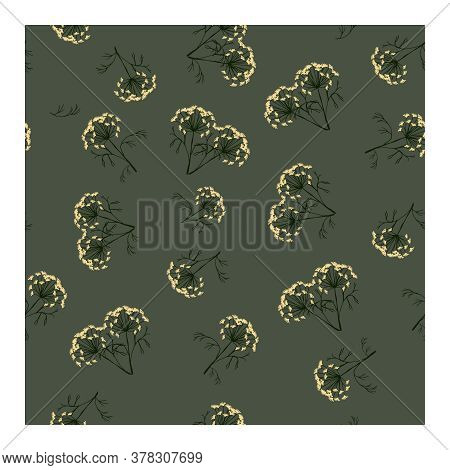 Seamless Pattern With Dill Flowers And Green Plant Leaves On A Gray Background. Dill. For Fabric, Pa