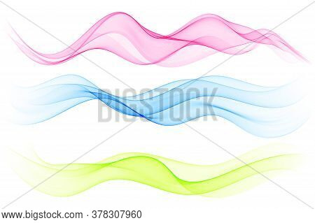 Vector Set Abstract Wave Pattern. Blue Wave. Green Wave. Red Wave. Transparent Wave Set. Color Wave.