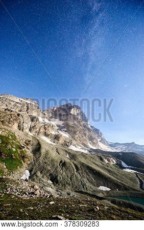 Breathtaking Scenery In Summer Night With Blue Starry Sky With Milky Way, Beautiful Mountains Area W