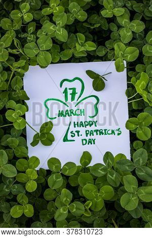 Happy St. Patrick's Day. Green Clover Holiday Border, St.patrick's Day Decoration Background With Ca