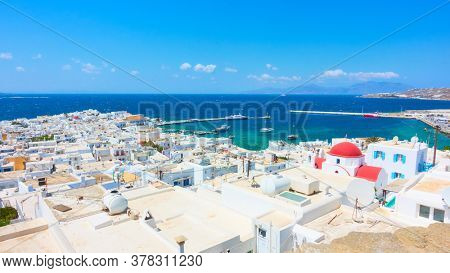 Panoramic view of Mykonos town (Chora) by the sea, Greece. Greek scenery