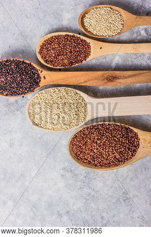 Seeds Of White, Red And Black Quinoa - Chenopodium Quinoa. Vegetarian Food