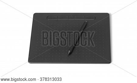 Electronic Graphics Tablet With A Pen On A White Background