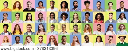 People Faces. Mosaic Of Joyful Diverse Young Men And Women Portraits Over Bright Colored Backgrounds