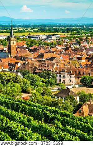 Town Of Obernai With Vineyards In Bas-rhin, France