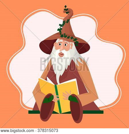 Wizard Reads His Magic Book. Sorcerer In Hat Casts A Spell. Old Man With Grey Hair And Beard Storyte