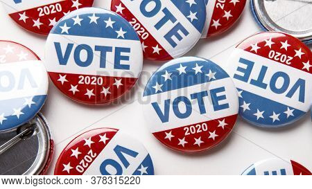 Election Day. United States Of America President Voting 2020. Election Voting Buttons On White Backg