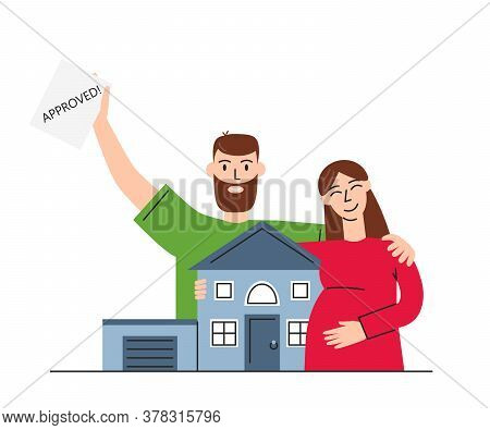 Vector Flat Concept Illustration Of Mortgage Isolated. Happy Family Buying House With Bank Credit. A