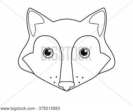 Fox - Vector Cartoon Linear Picture For Coloring. Fox Head - Cute Picture, Smile. Outline.