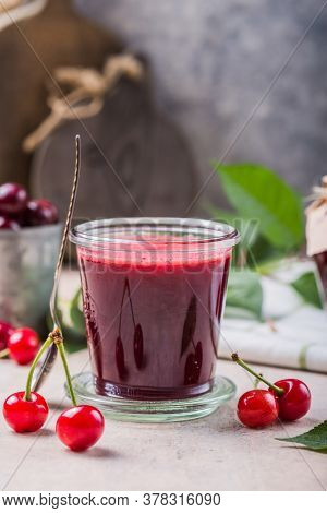 Homemade Sweet And Sour Cherry Jam With Fresh Cherries On Light Table, Copy Space. Sweet And Sour Ch
