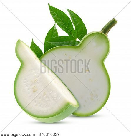 Calabash Or Bottle Gourd Isolated On White Background