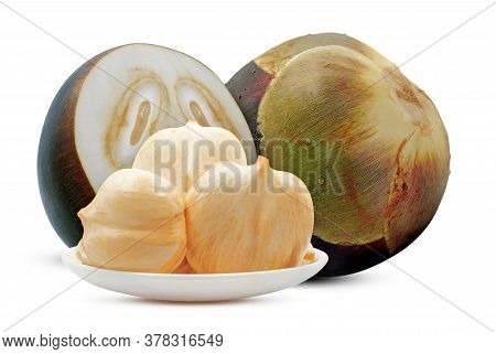 Palmyra Palm, Toddy Palm Or Sugar Palm Fruit Isolated On White