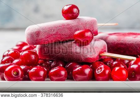 Homemade Vegan Cherry Popsicles With Coconut Milk. Summer Food Concept Top View. Berry Popsicle With