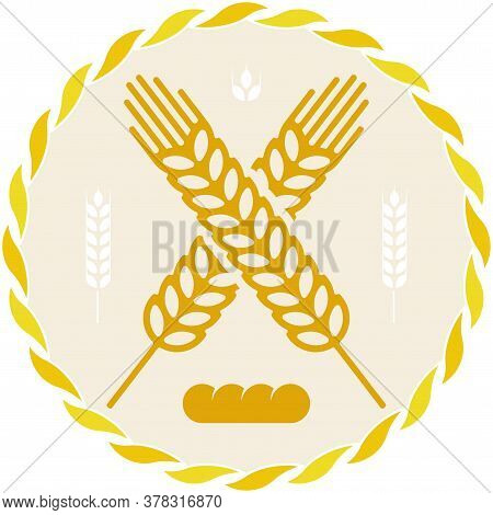 Bread Icon With Wheat Grain Spike In Geometric Style.