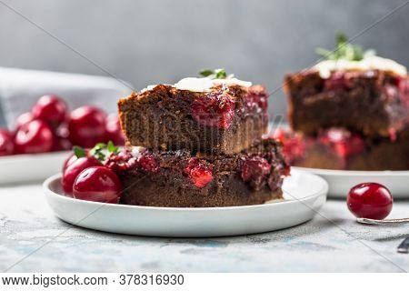 Tasty Cherry Brownie  Or Blonde Lies In A Plate. Chocolate Cherry Brownie