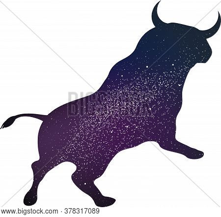 Brave Bull Isolated With The Whole Univers Inside.