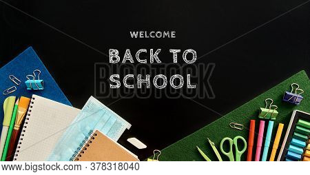 Stationery Set On Black Background. School Supplies Top View For Advertising And Promotional Items.