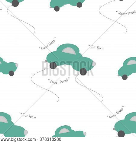 Funny Green Car In The Shape Of A Cloud. With Car Noise. White Background. Seamless Pattern For Kids