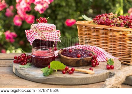 Homemade Redcurrant Jam. Fresh Berries Of Currants. Concept Cooking Confiture. Homemade Redcurrant J