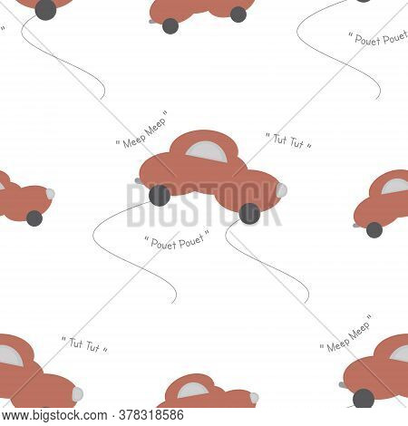 Funny Orange Car In The Shape Of A Cloud. With Car Noise. White Background. Seamless Pattern. Vector