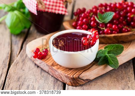 Rustic Jar With Currant  Jam And Fresh Red Currants, Homemade Preserves Marmalade On Wood. Rustic Ja