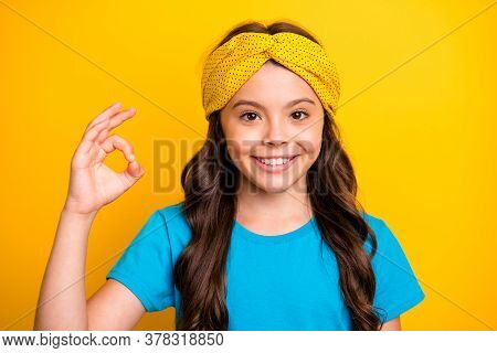 Portrait Of Positive Kid Girl Small Promoter Show Okay Symbol Present Great Advert Choice Decision W