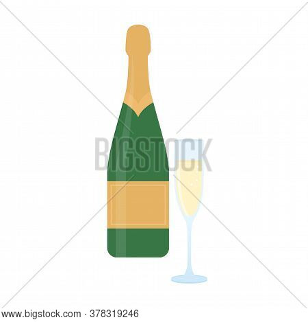 Champagne And Glass Of Champagne Isolated On White Background. Vector Illustration.