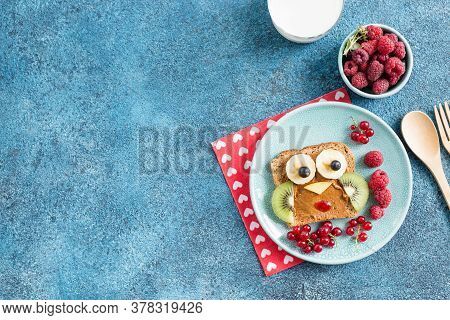 Funny Breakfast Toast For Kids Shaped As Cute Owl. Food Art Sandwich For Child. Isolated. Animal Fac