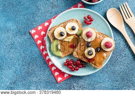 Funny Breakfast Toast For Kids Shaped As Cute Owl, Dog. Food Art Sandwich For Child. Isolated. Anima