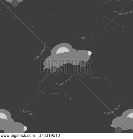 Funny Grey Car In The Shape Of A Cloud. With Car Noise. Dark Grey Background. Seamless Pattern For K