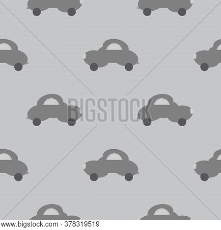 Funny Grey Car In The Shape Of A Cloud. Light Grey Background. Seamless Pattern For Kids. Vector Ill