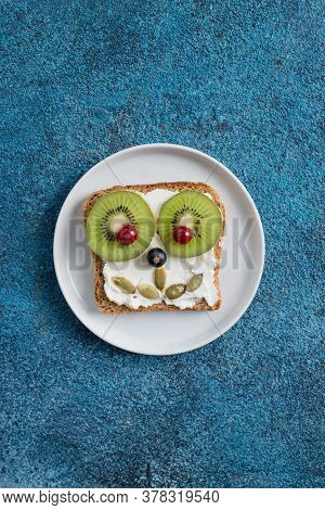 Funny Breakfast Toast For Kids Shaped As Cute Dog. Food Art Sandwich For Child. Isolated. Animal Fac