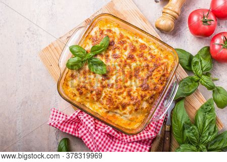 Lasagna. Delicious Traditional Italian Lasagna Made With Minced Beef Bolognese Sauce