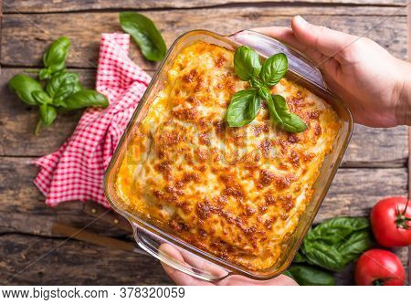 Lasagna. Traditional Italian Lasagna With Vegetables, Basil, Minced Beef Meat, Tomato And Cheese On