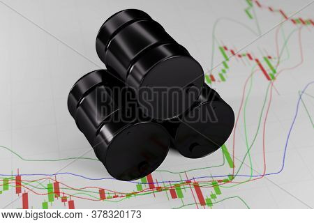 A Black Barrel Of Oil On The Background Of A Forex Chart With Japanese Brent Candles On A White Back