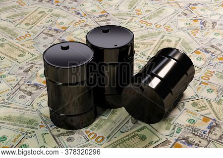 Three Glossy Black Barrels Of Oil On A Large Pile Of American Dollars, The Concept Of High Volatilit