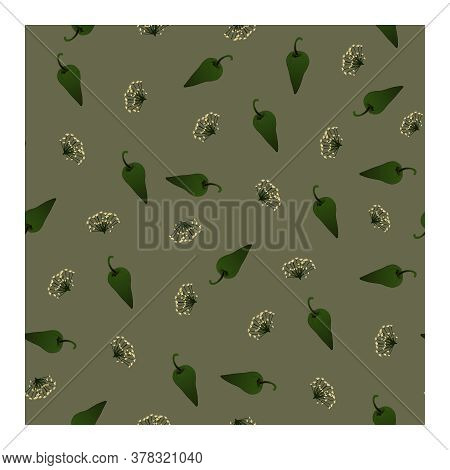 Seamless Pattern With Green Pepper And Dill Flowers On A Grey Background. For Fabric, Paper, Product