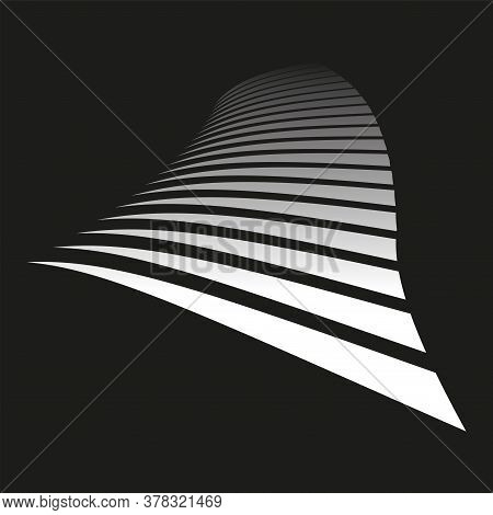 Lines On Black Background. Diminishing Perspective View. Vector Art.