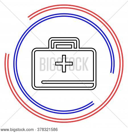 Medical Kit - Vector Doctor Case Illustration, Health Care - Medical Case. Thin Line Pictogram - Out