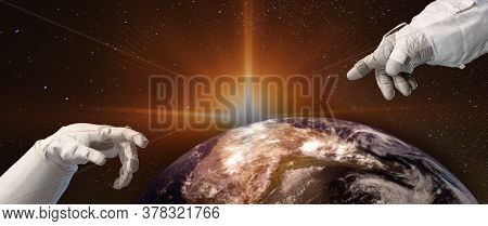 Close Up Of Human Hands Touching With Fingers Above The Planet Earth And Sunrise In Space. Concept O