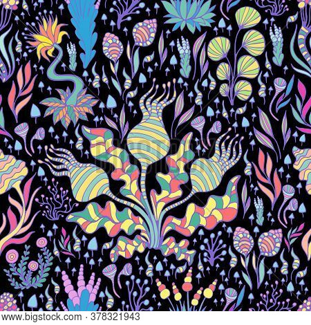 Tropical Fantastic Bright Plants, Mushrooms And Flowers Seamless Pattern, Isolated On Black Backgrou