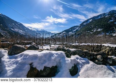 Snow Capped Rocks With Dry Apple Vines With Snow Capped Mountain In The Background