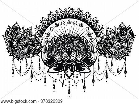 Lotus Flower Pattern For Henna Drawing And Tattoo. Decoration In Ethnic Oriental, Indian Style.