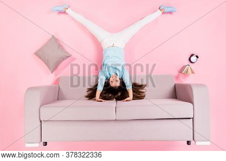 Top View Above High Angle Flat Lay Flatlay Lie Concept Of Her She Nice Attractive Cheery Girl Standi